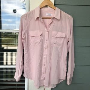 Equipment Femme Light Pink Silk Long Sleeve Top L